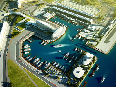 Aldar Marinas' Yas Marina, Abu Dhabi, positioned alongside the Formula 1 race track